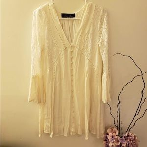Crochet laced cream dress from Francesca's
